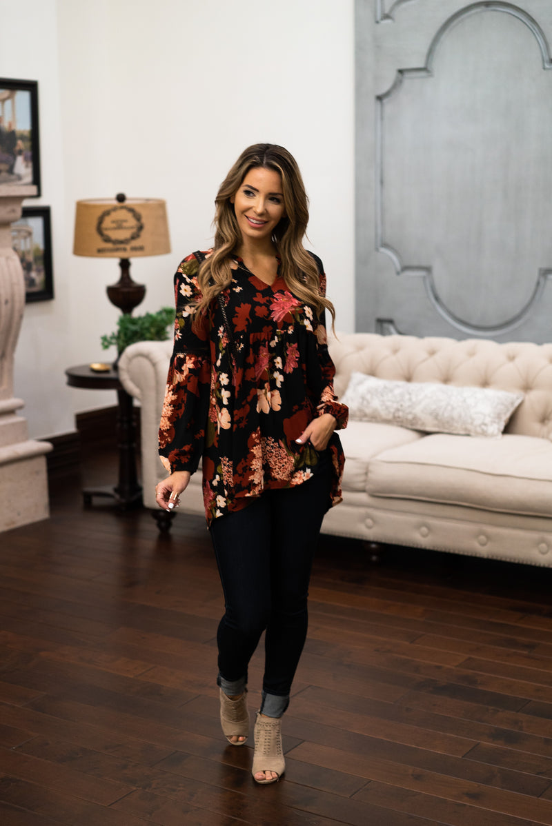 The Lorie Floral Blouse in Black