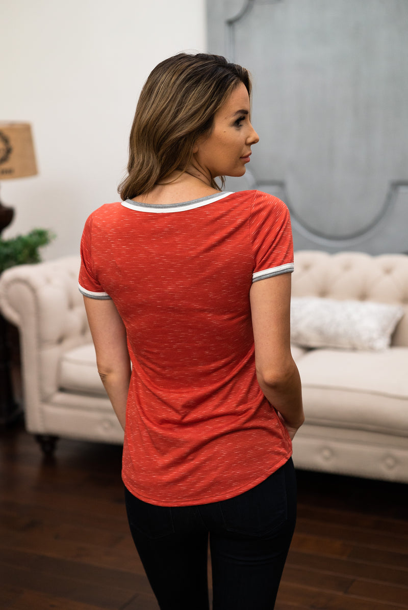 The Britt Pocket Tee in Red