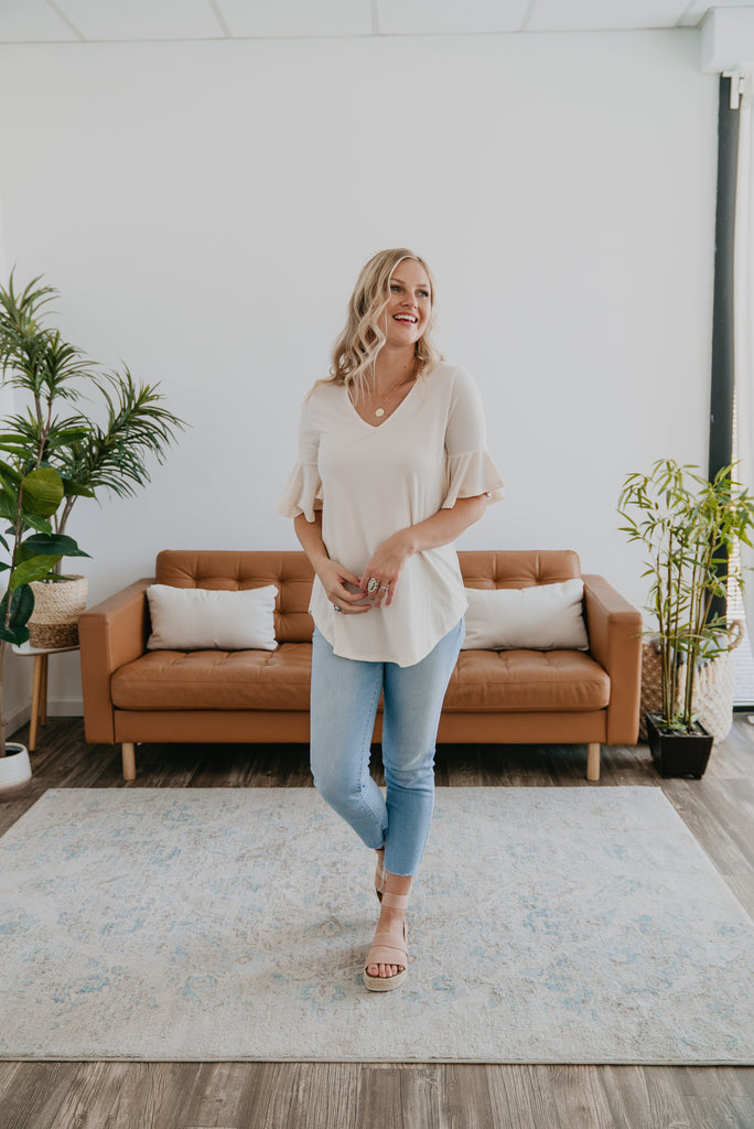 WI Basics: The Davi Flutter Sleeve Top in Cream, Wren & Ivory Basics, comfortable Tee, stretchy fabric, fashion, Wren & Ivory, Wren and Ivory, short sleeves, ruffle sleeve, v-neck, Baby Bump Friendly, plus sizes, Off White Top