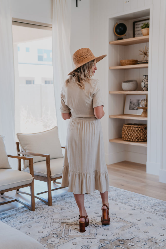 The Mykel Button Down Midi in Beige, Wren & Ivory dress, women's fashion, short sleeve, midi dress, linen dress, functional buttons, colar dress, self-tie belt, ruffle hem, Wren and Ivory, cuff sleeve, modest dress