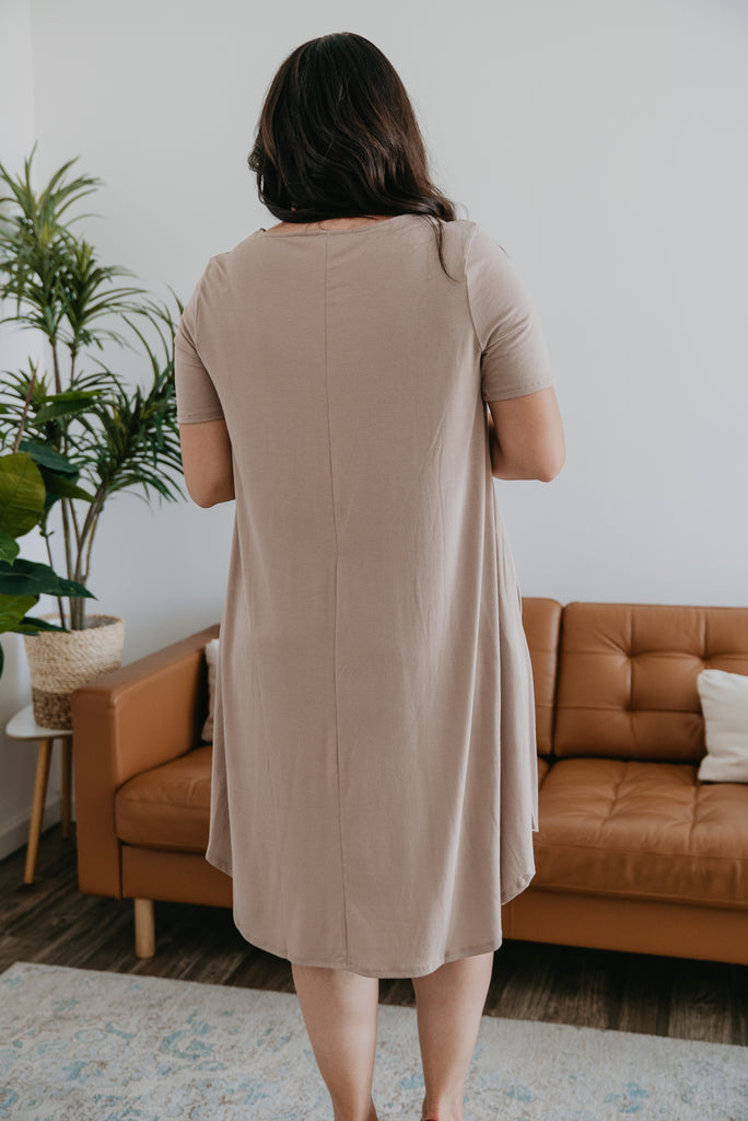WI Basics: The Lana Tee Dress in Iced Mocha (Sizes S-3X)