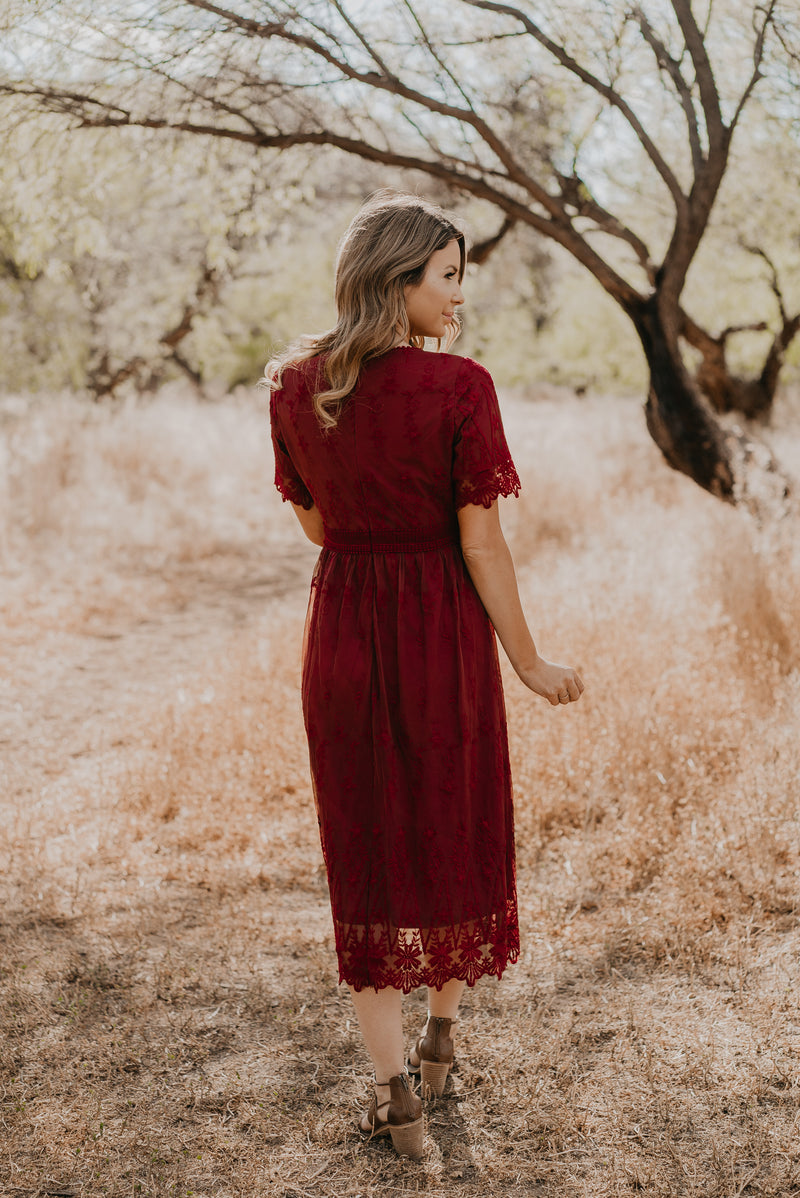 The Christabel Lace Dress in Burgundy (Sizes S-3X)