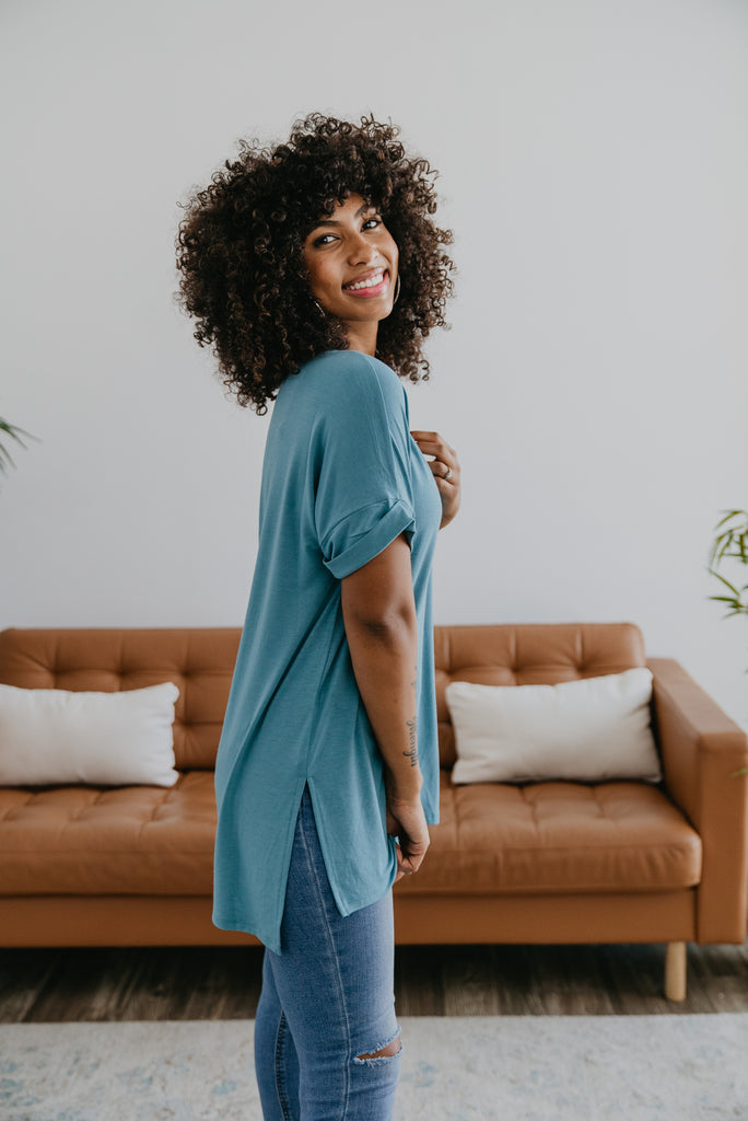 WI Basics: The Eady Cuff Sleeve Top in Dusty Teal, Wren & Ivory Basics, comfortable Tee, stretchy fabric, fashion, Wren & Ivory, Wren and Ivory, short sleeves, ruffle sleeve, v-neck, Baby Bump Friendly, plus sizes, dark teal top, blue top