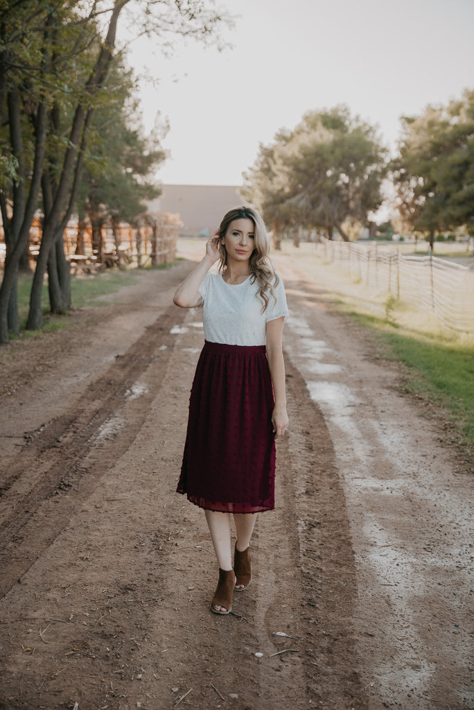 The Kimball Midi in Burgundy (Sizes S-3X)