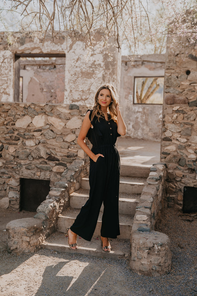 The Priscilla Ruffle Jumpsuit in Black (Sizes S-3X)