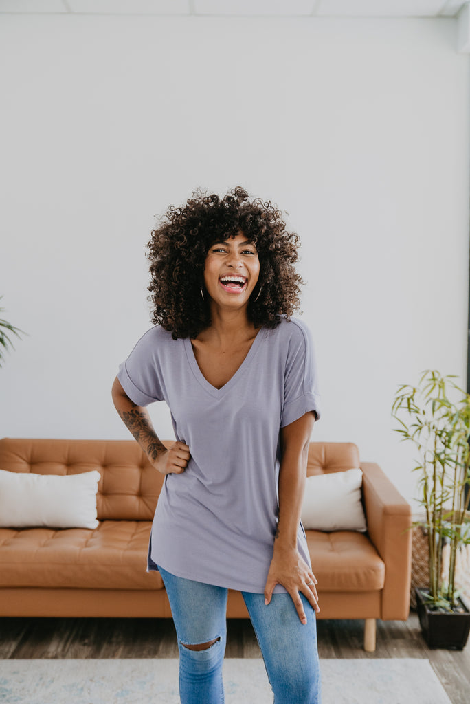 WI Basics: The Eady Cuff Sleeve Top in Lavender, Wren & Ivory Basics, comfortable Tee, stretchy fabric, fashion, Wren & Ivory, Wren and Ivory, short sleeves, ruffle sleeve, v-neck, Baby Bump Friendly, plus sizes, light purple top