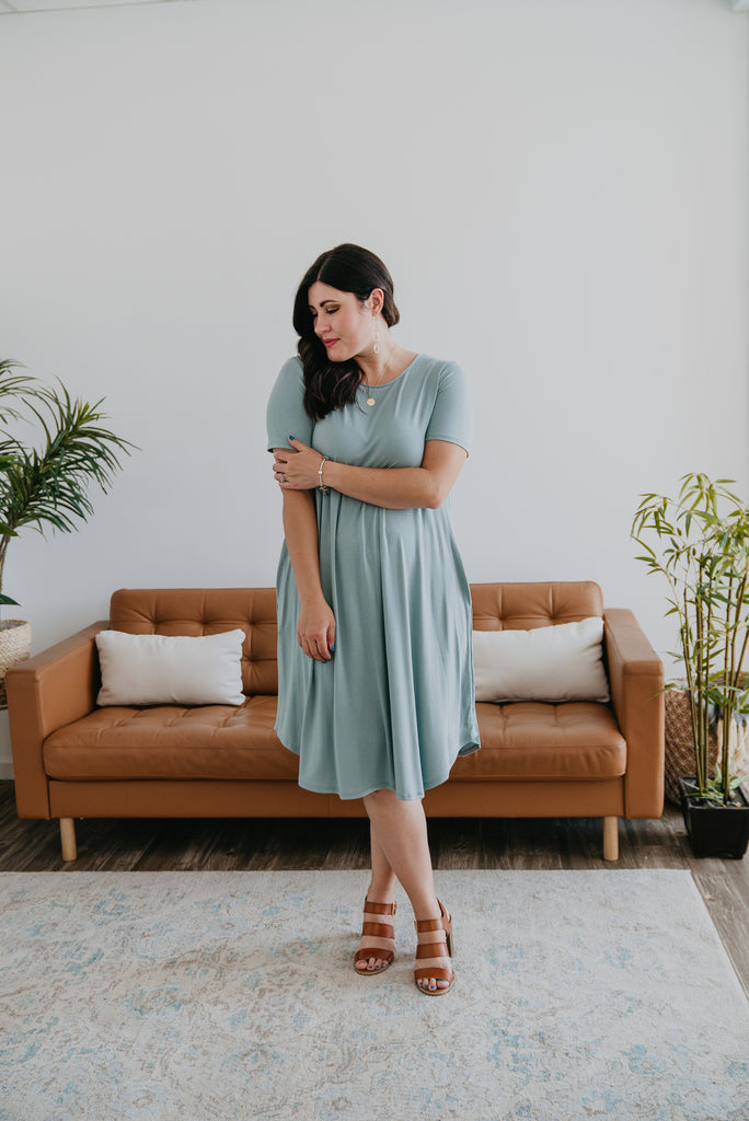WI Basics: The Lana Tee Dress in Light Sage (Sizes S-3X)