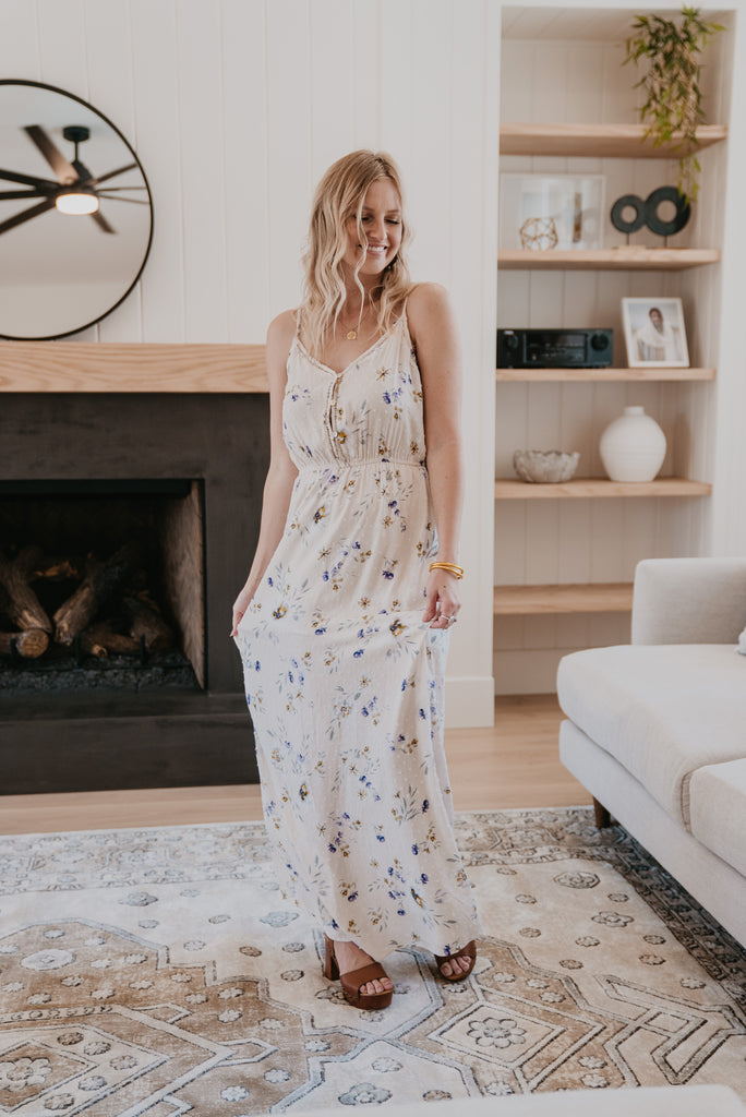 The Sawyer Sundress in Cream, Wren & Ivory dresses,fashion, Wren & Ivory, Wren and Ivory, sleeveless, maxi dress, maxi length, round neck, tie dye, spaghetti straps, ladies dress, swiss dot floral, Nursing Friendly, thigh high slit, crochet details, functional buttons, off white dress