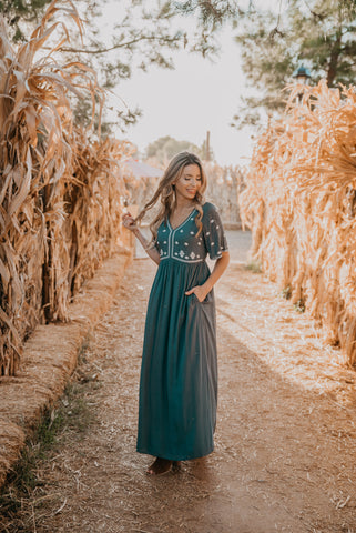 The Shania Embroidered Maxi in Black