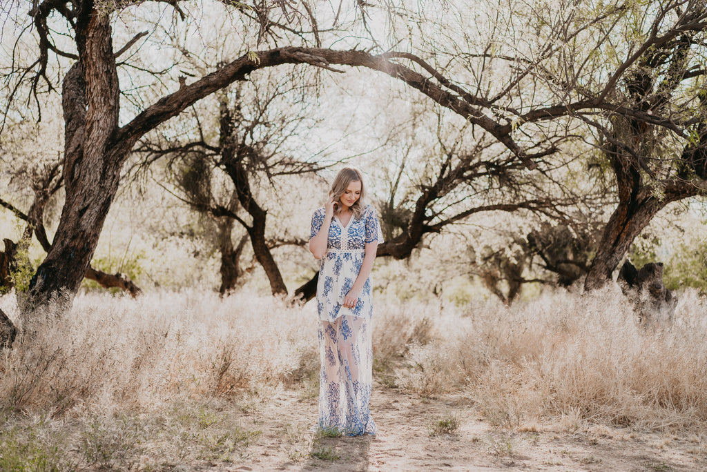 The Nola Lace Maxi in Ivory & Dusty Blue
