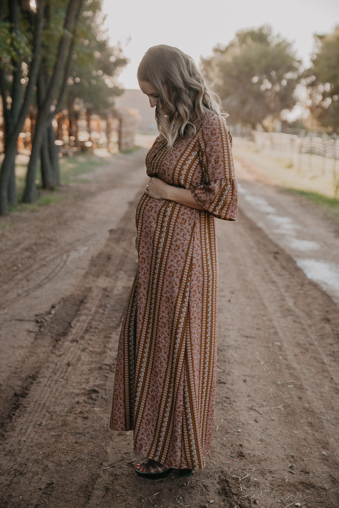 The Linden Bell Sleeve Maxi in Charcoal