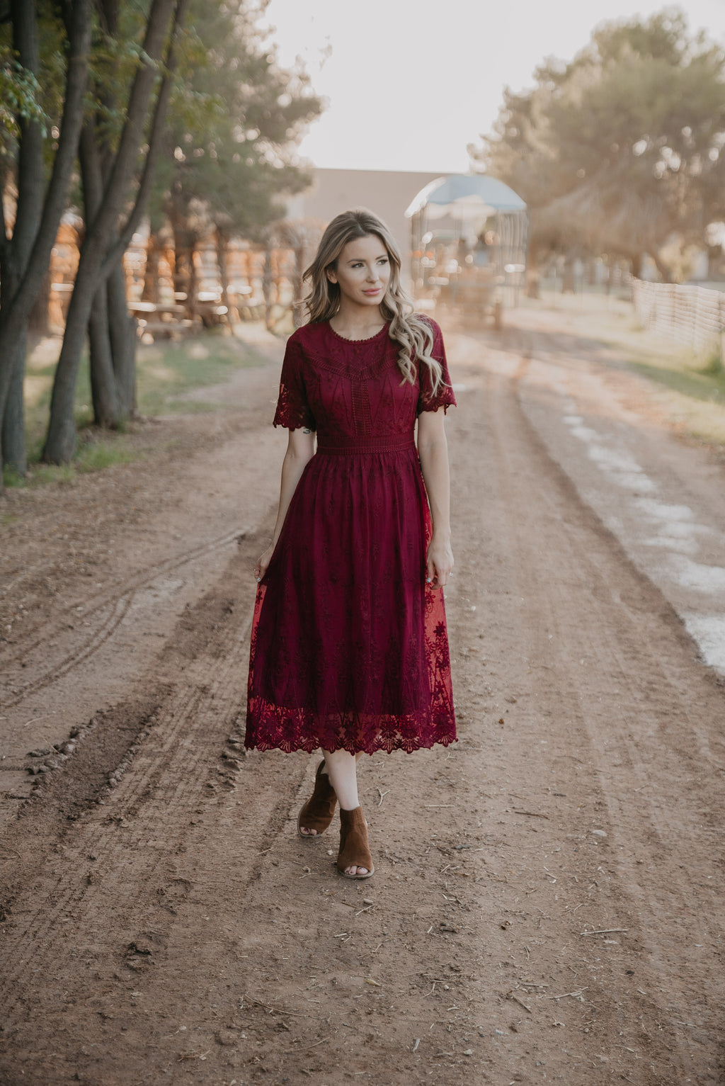 The Christabel Lace Dress in Cranberry