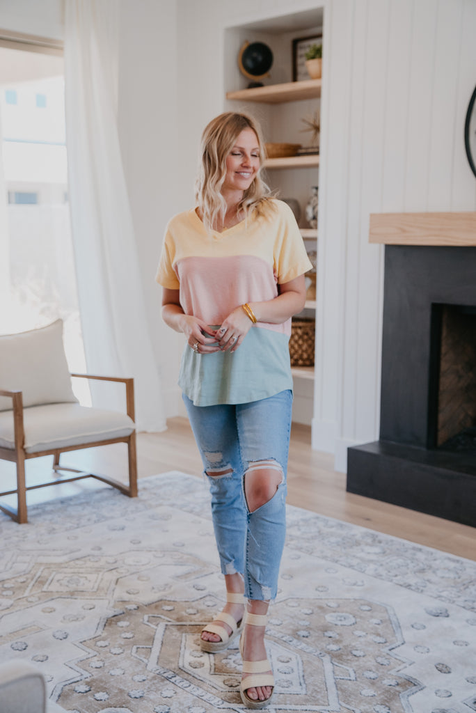 The Kays Colorblock Top in Daffodil, summer top, women fashion, Wren & Ivory, Wren and Ivory, fashion top, short sleeve, colorblock top, Daffodil Rose Sage, round neck, summer top, color tee, baby bump friendly