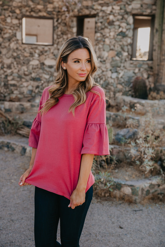 The Bronte Bell Sleeve Top in Marsala