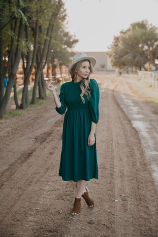 The Wilder Floral Wrap Dress in Teal Green