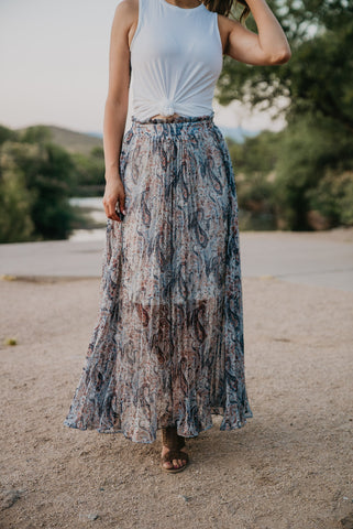 The Clemence Mixed Print Midi in Navy (Sizes S-3X)