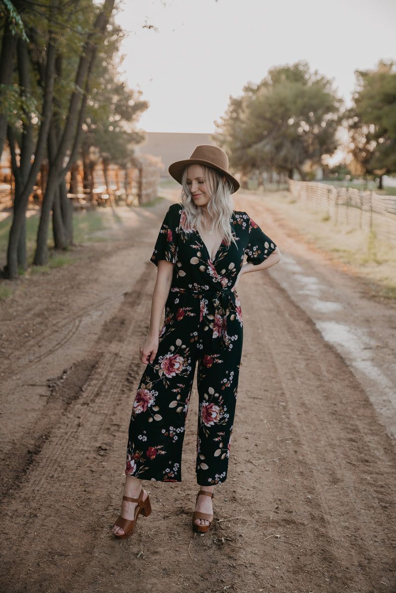 The Delaney Floral Jumpsuit in Black
