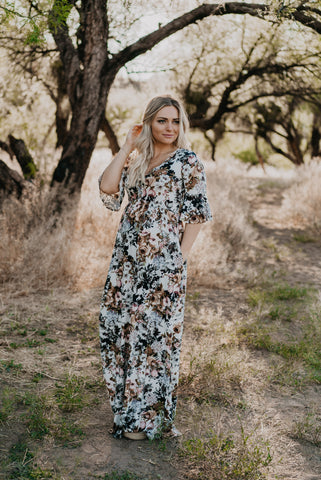 The Chimera Floral Maxi in Raven (Sizes S-XL)