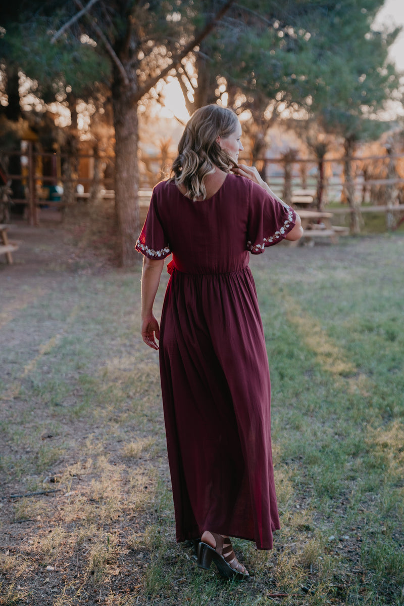 The Damara Faux Wrap in Burgundy