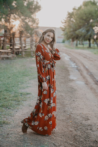 The Tempest Embroidered Maxi in Pumpkin
