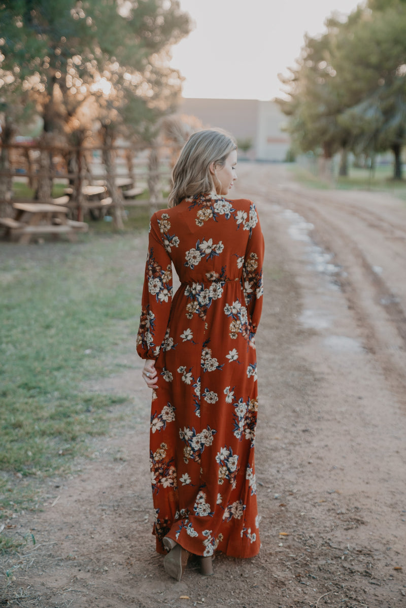 The Monroe Floral Maxi in Rust
