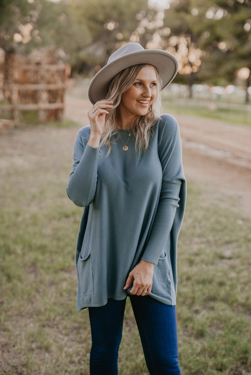 The Freya Solid Sweater in Sage