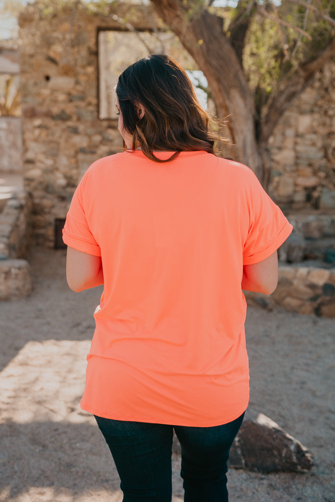 The Zia Tee in Neon Orange (Sizes S-3X)