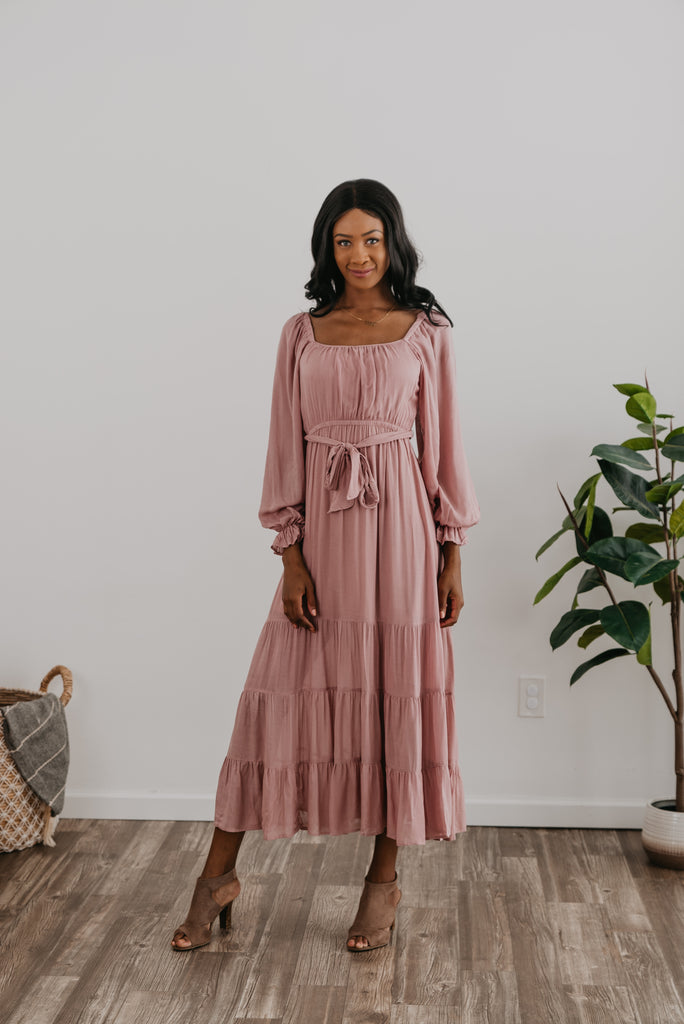 The Adrian Square Neck Maxi in Dusty Mauve, Wren & Ivory dresses, fashion, Wren & Ivory, Wren and Ivory, long sleeve, lined dress, maxi length, mauve dress, modest dress, square neckline, ladies dress, elastic waist with self tie belt, tiered dress, Baby Bump Friendly, Nursing Friendly, off-the-shoulder, peasant sleeves