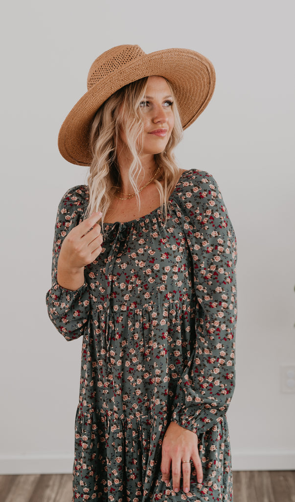 The Sakari Tiered Midi, midi dress, fashion, Wren & Ivory, Wren and Ivory, long sleeves, ditsy floral print , square neckline, shiring, tiered midi, Baby Bump Friendly, woven print fabric, jade floral