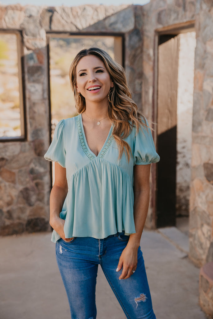 The Carmen Babydoll Top in Seafoam, comfortable, short puff sleeve, V-neck, soft fabric, cute top, women's fashion, Wren & Ivory, Wren and Ivory, loose fit, seafoam