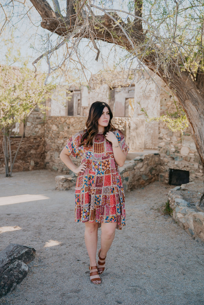 The Lyric Patchwork Print Dress (Sizes S-3X)