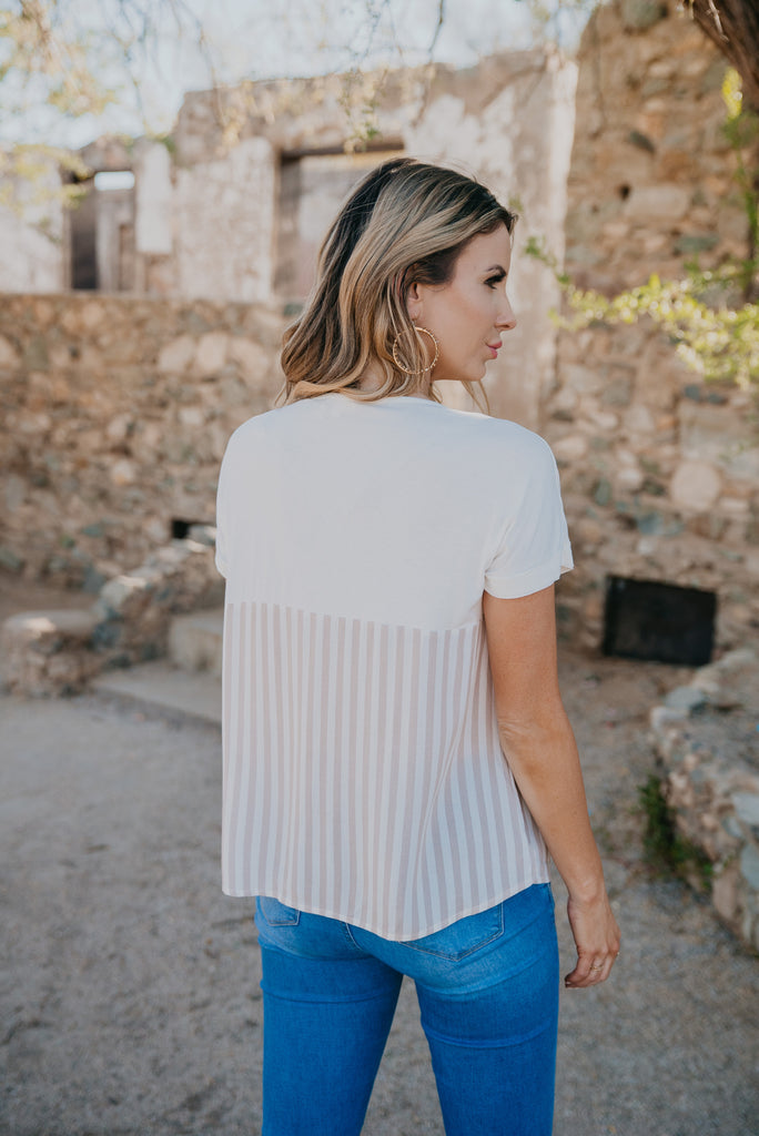 The Joan Stripe Pocket Top