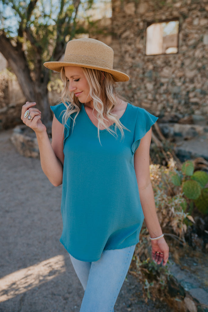 The Leighton Blouse in Blue Sage