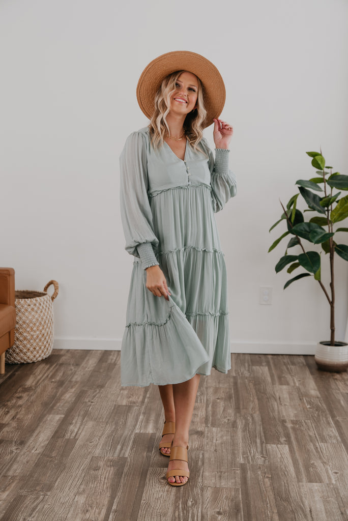 The Landie Button Midi in Light Sage