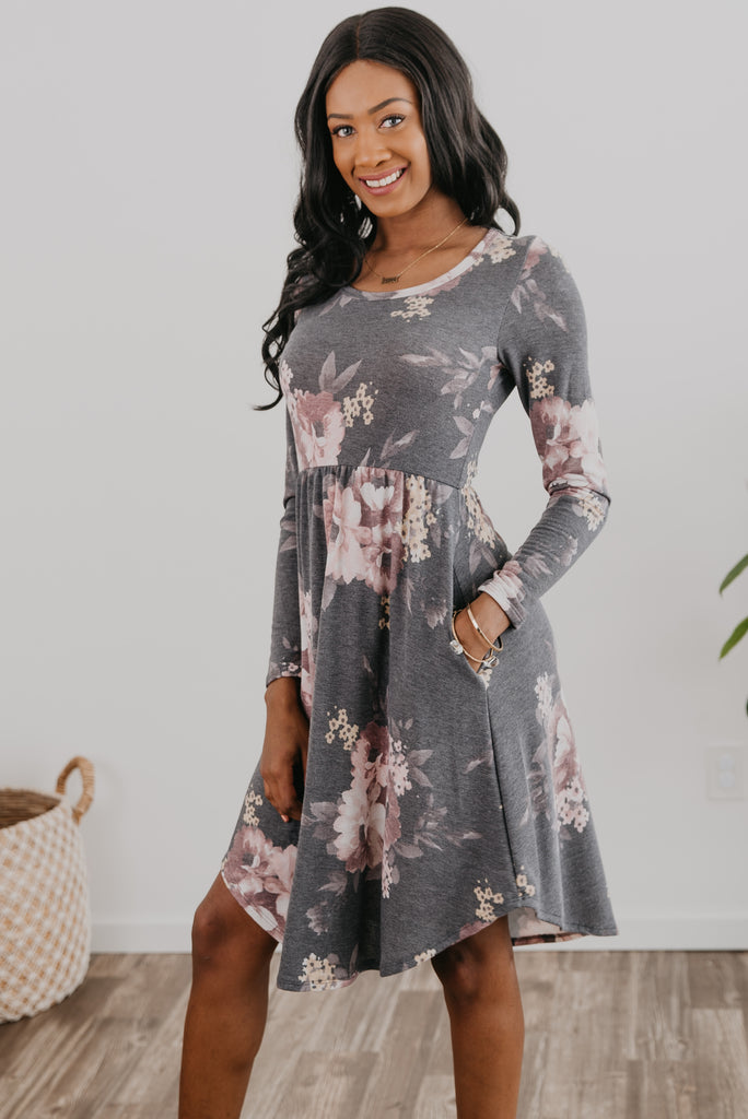 The Jandi Floral Dress in Charcoal, midi dress, fashion, Wren & Ivory, Wren and Ivory, long sleeves, floral print , round neckline, elastic waist, rounded hem, pockets, Baby Bump Friendly, soft stretch knit dress