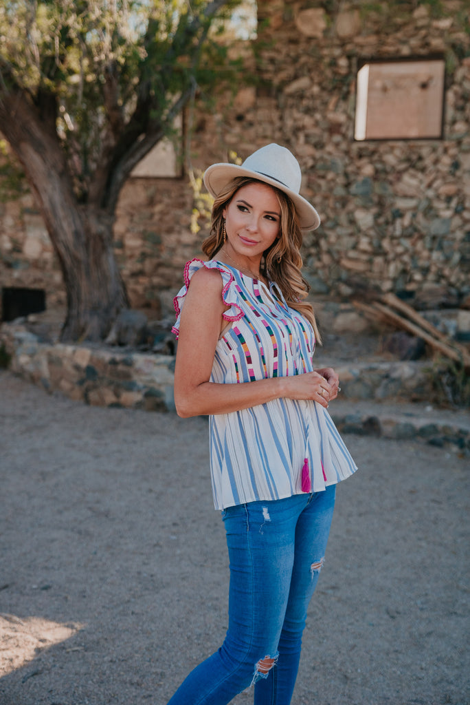 The Agalia Embroidered Stripe Top