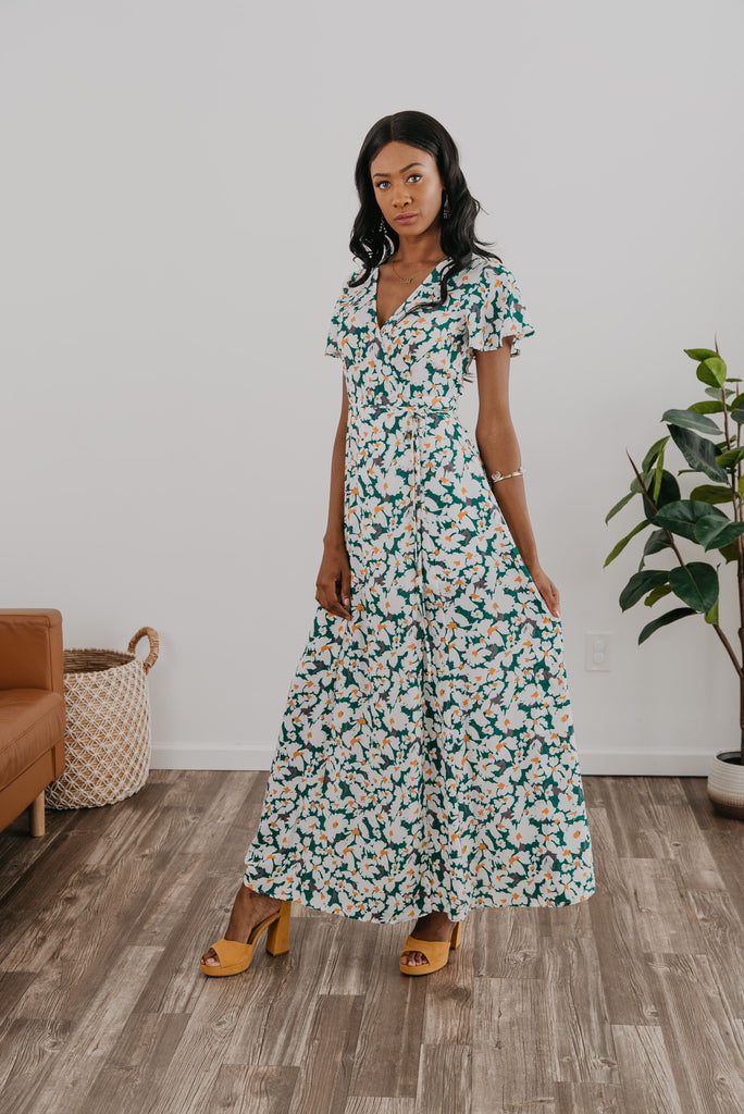 The Sanid Floral Maxi in Green, Wren & Ivory dresses, fashion, Wren & Ivory, Wren and Ivory, short sleeve, partially lined dress, maxi length, floral dress, true wrap maxi, snap closure neckline, ladies dress, self tie belt, longdress, Nursing Friendly, Green and ivory dress