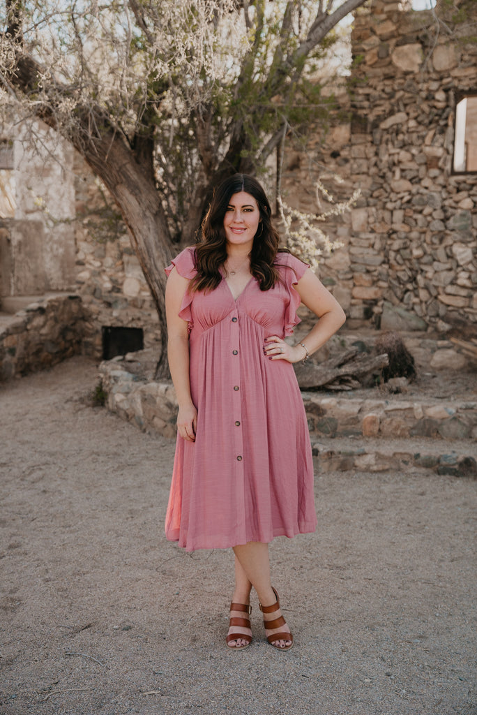 The Jarry Button Dress in Rose (Sizes XL-2X)