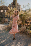 The Richelle Tassel Tie Dress in Dusty Peach (Sizes Small-2X)