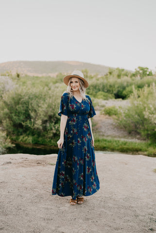 The Chimera Floral Maxi in Midnight Blue (Sizes 1X-3X)