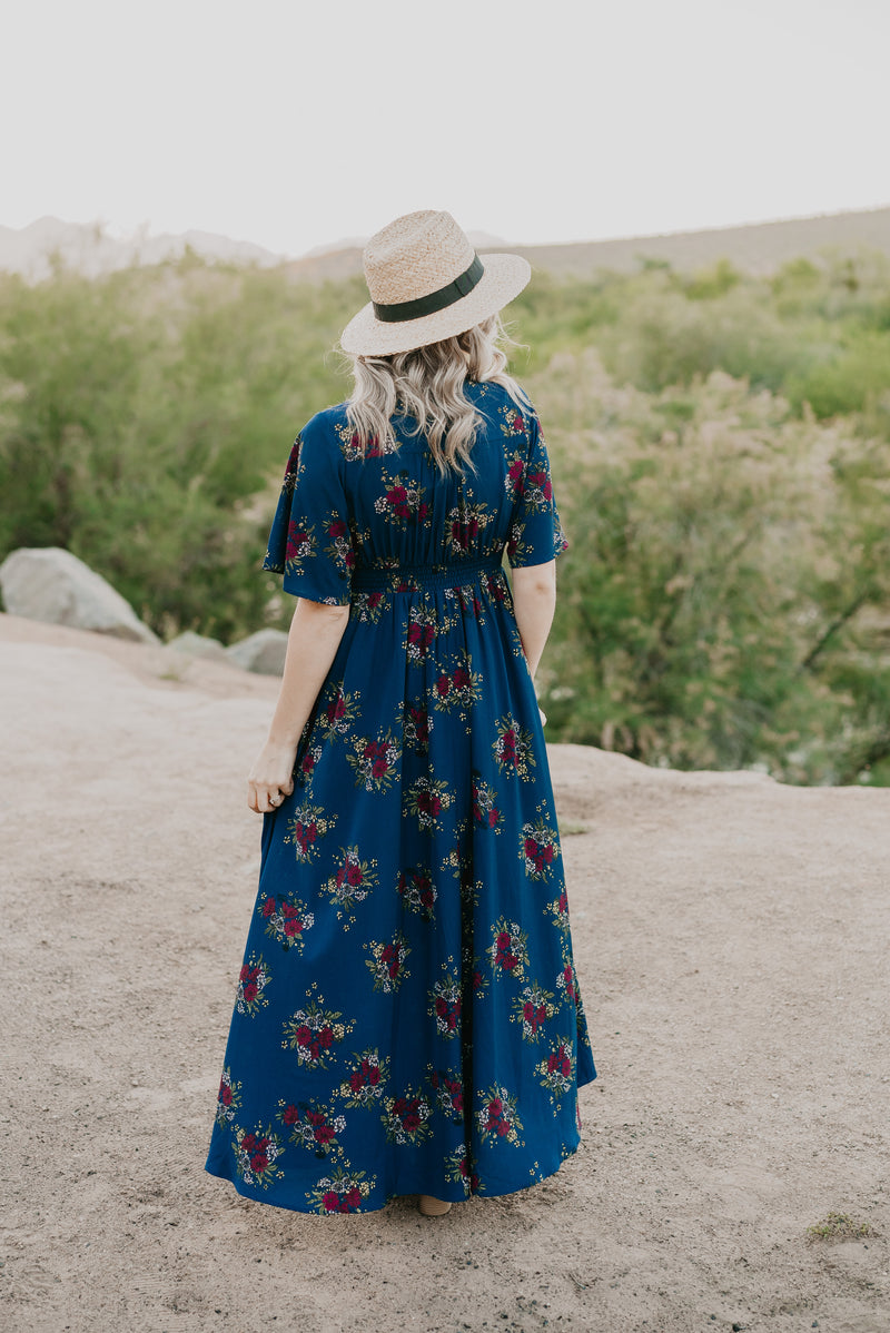 The Hamptons Floral Maxi in Navy (Sizes S-3X)