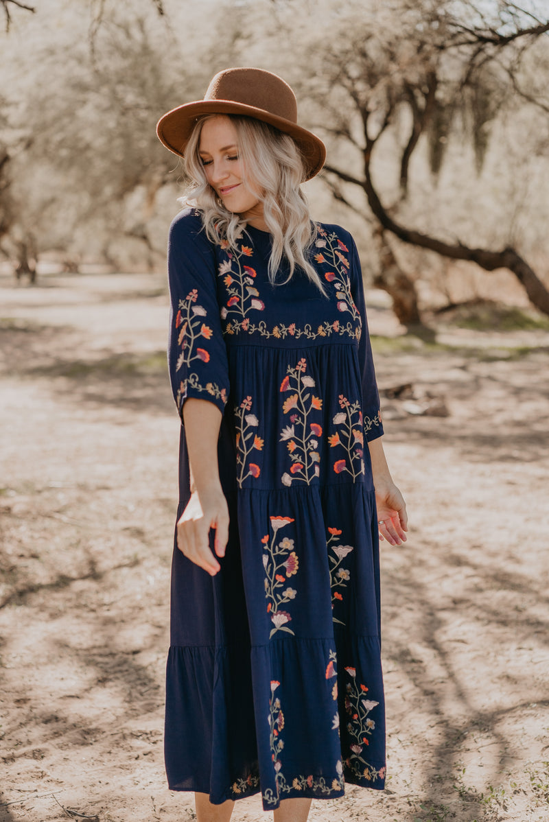 The Beau Embroidered Dress in Navy
