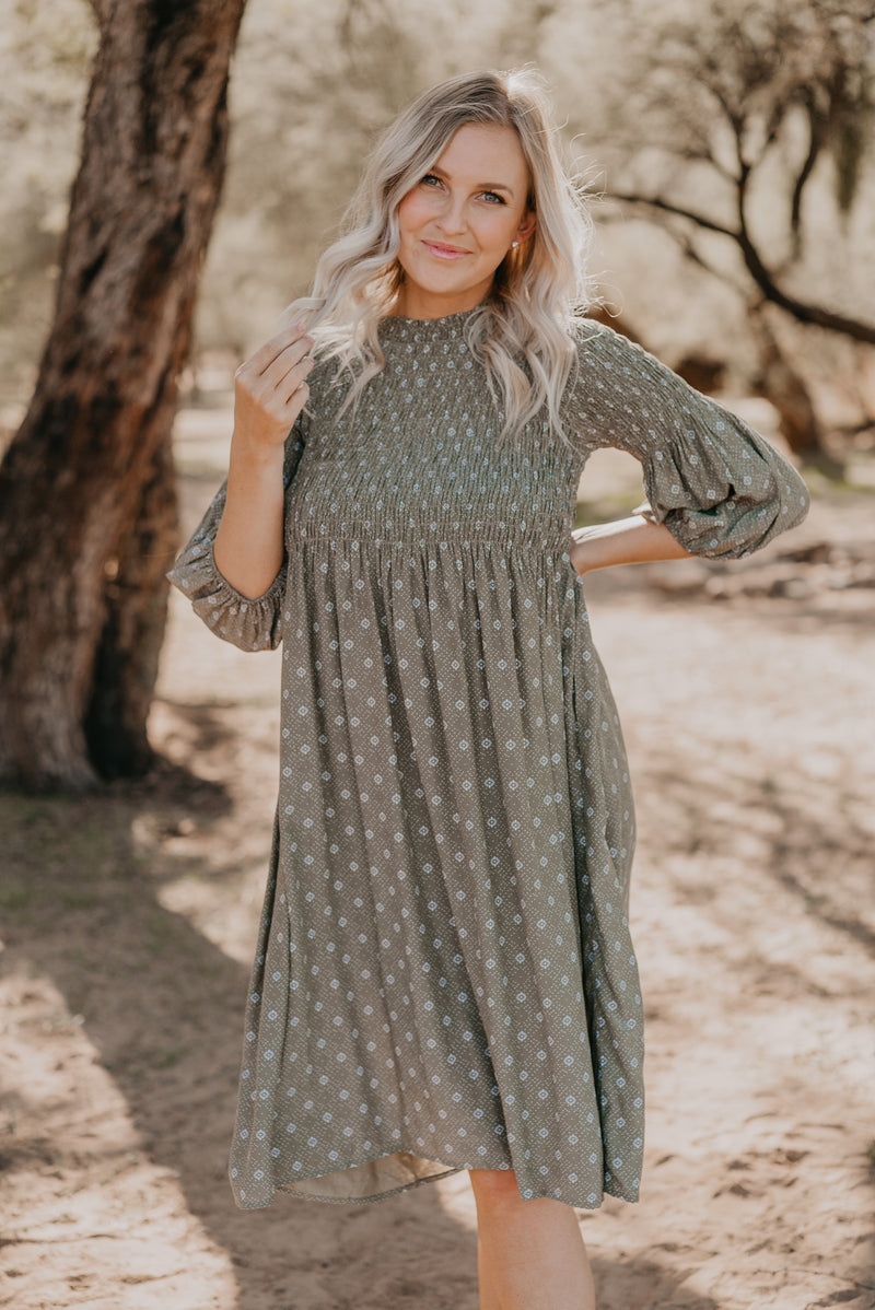 The Dorthea Smocked Dress in Olive