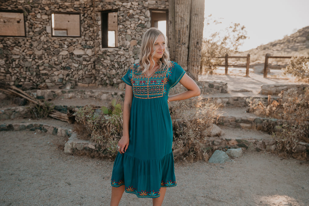 The Kenora Embroidered Midi in Teal