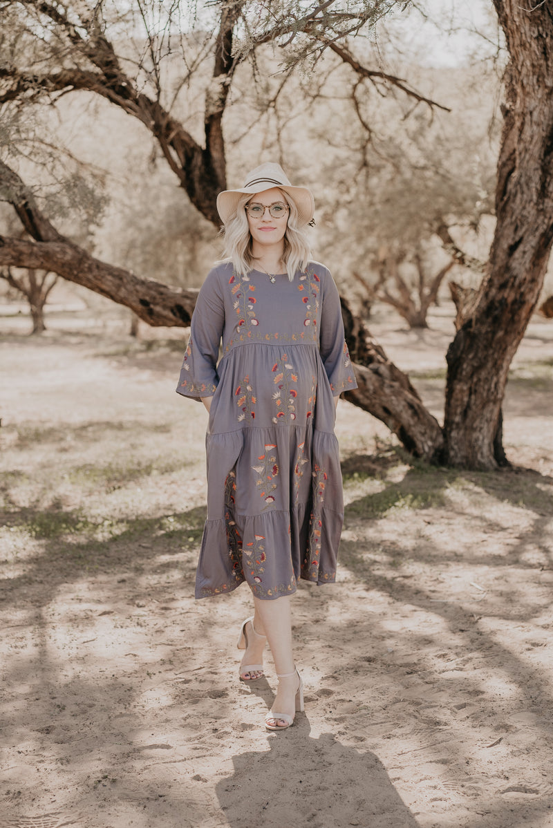The Beau Embroidered Dress in Charcoal