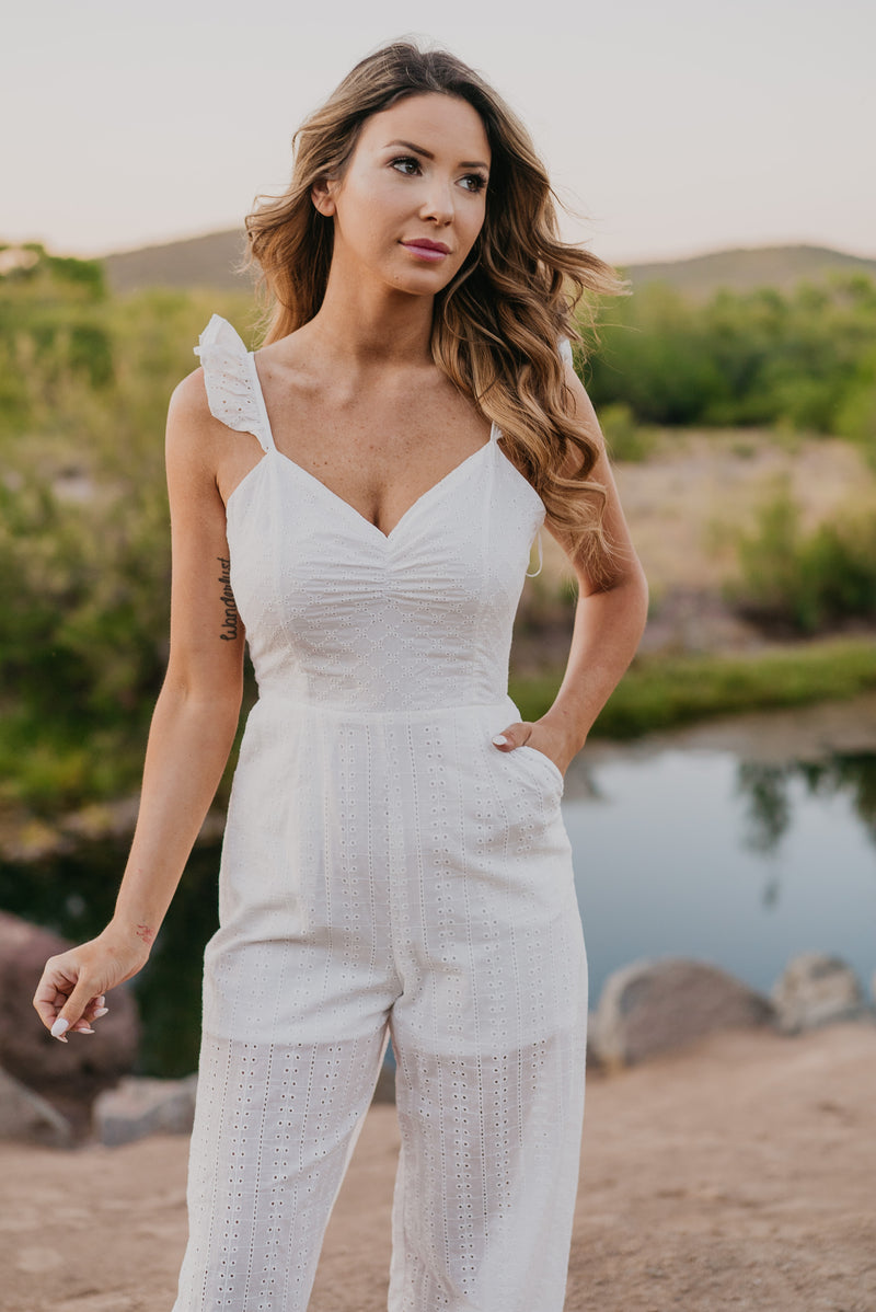 The Rory Ruffle Jumpsuit in White
