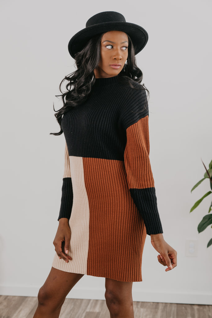 The Naomi Block Sweater Dress (Sizes S-3X)