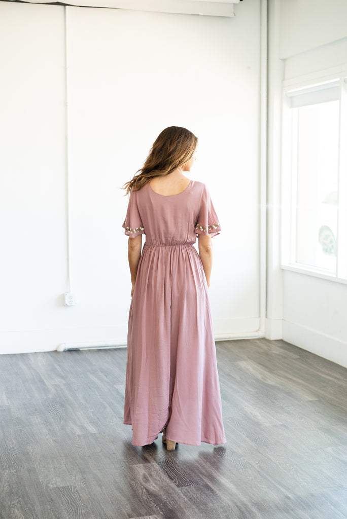 The Damara Faux Wrap in Mauve