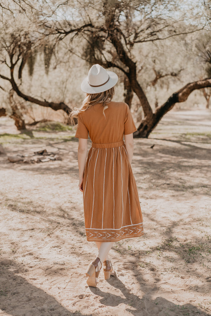 The Laramie Embroidered Midi in Camel