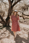 The Austin Smocked Dress in Rust